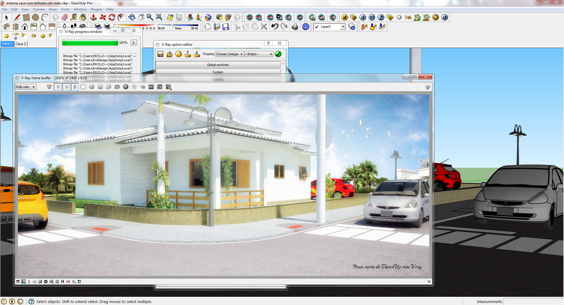 Curso de cad 2d 3d e sketchup 8 pr com vray cursos for Azulejos para sketchup 8